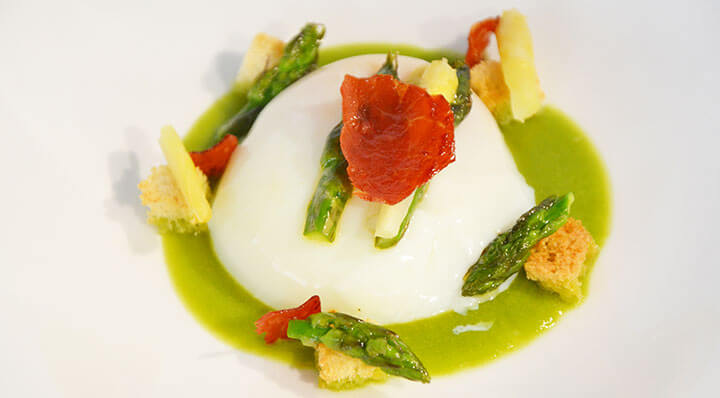 Egg with asparagus tips sous videEi Spargel Parmaschinken Daniloange