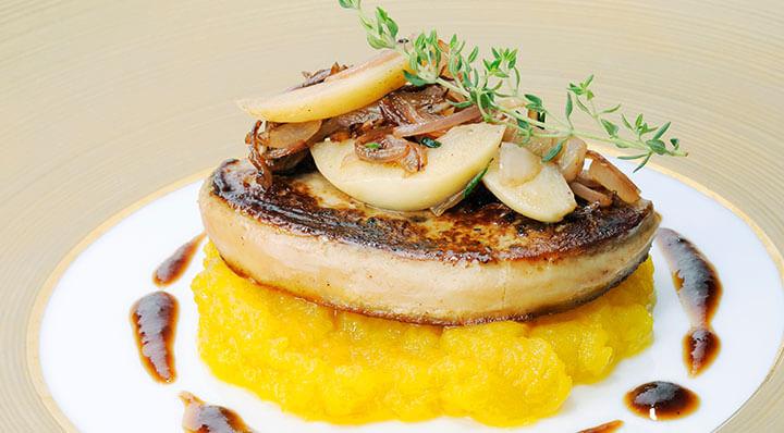 Foie gras d'oie rôti sous videGaensestopfleber Chrissalans