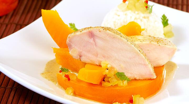 Filet de poulet au curry et courge sous videHaenchenbrust Heikoantoniewicz