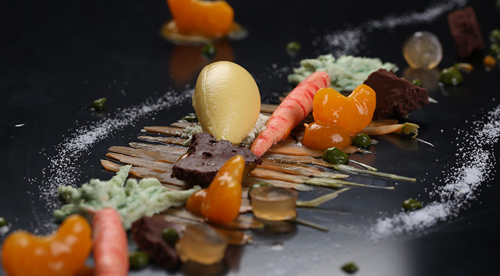 Sous vide variations on carrots, mandarins and parsleyKarotte Mandarine Petersilie Timschlatter
