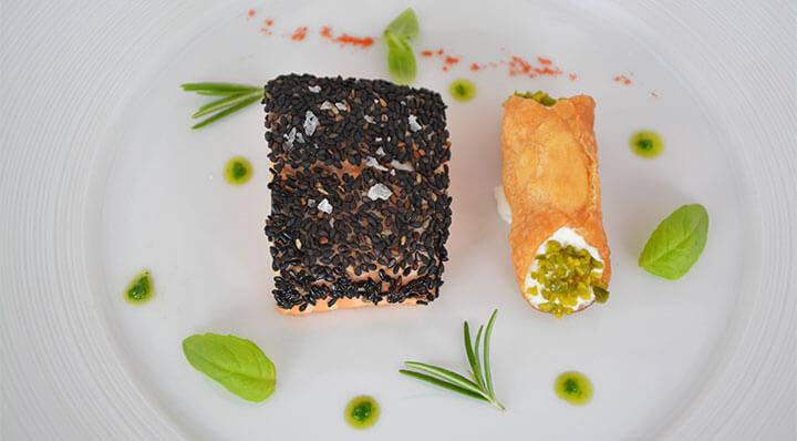 Filets de saumon sous vide avec cannoli à la ricottaLachsfilets Ricotta Cannoli Daniloange
