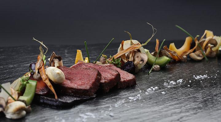 Sous vide sirloin with heirloom roots and champignonRinderruecken Timschlatter