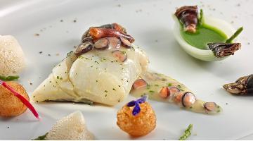 Grilled sea bass on a velouté of gooseneck barnaclesGegrillter Wolfsbarsch Erlantzgorostiza