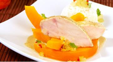 Curry chicken breast with pumpkin sous videHaenchenbrust Heikoantoniewicz