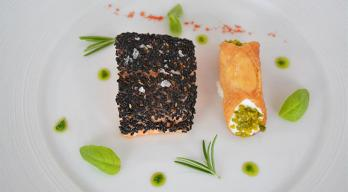 Salmon fillet sous vide with savoury Ricotta cannoli